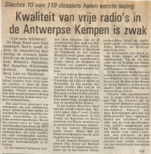 Artikel: Kwaliteit van vrije radio's in de Antwerpse Kempen is zwak